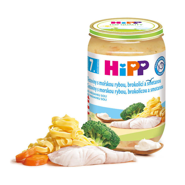 HiPP JUNIOR Těstoviny s rybou brokolicí a sm. 220g C-107