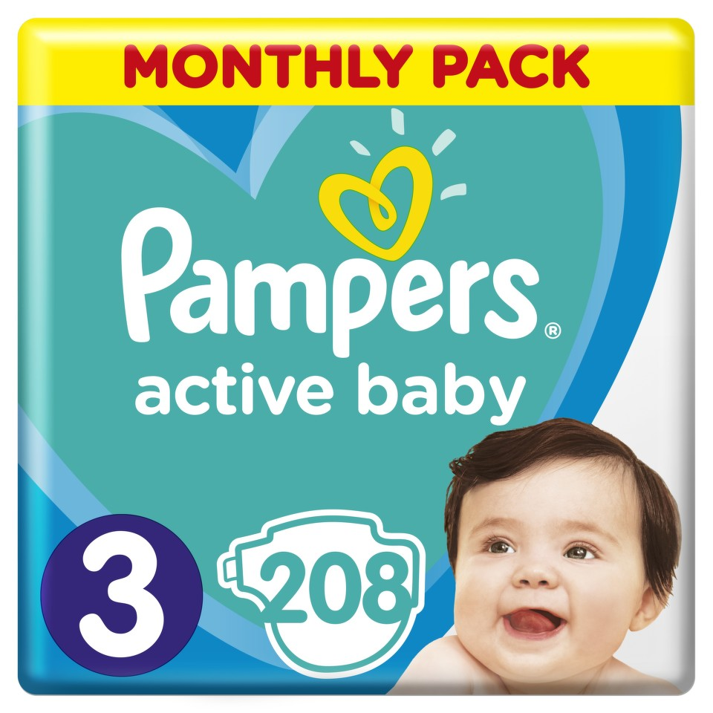 Pampers Active Baby Pleny 3 Midi 5-9kg 208 ks + dárek PAMPERS vlhčené ubrousky Sensitive 56ks zdarma