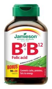 JAMIESON Vitamíny B6 B12+kyselina listová tbl.110
