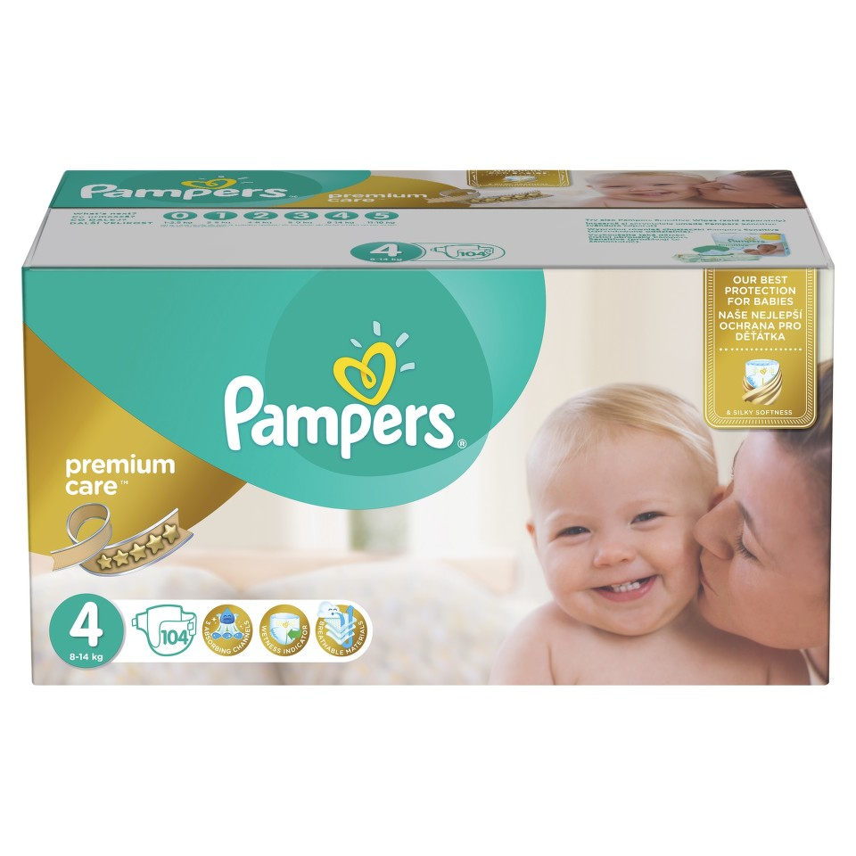 Pampers Plenky Premium Mega Box S4 104 + dárek PAMPERS vlhčené ubrousky Sensitive 56ks zdarma