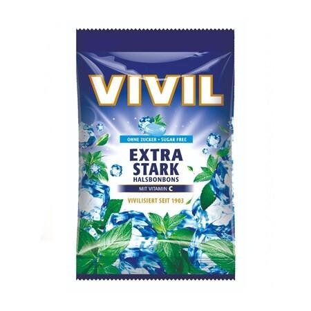 Vivil Extra silný mentol + vit.C bez cukru 80g