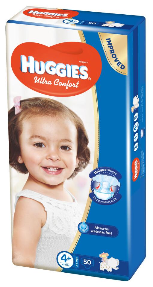 HUGGIES Ultra Comfort vel.4+ 50ks + dárek HUGGIES Natural Care Single 56ks zdarma