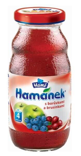 Hamánek nápoj s borůvkami a brusinkami 210ml
