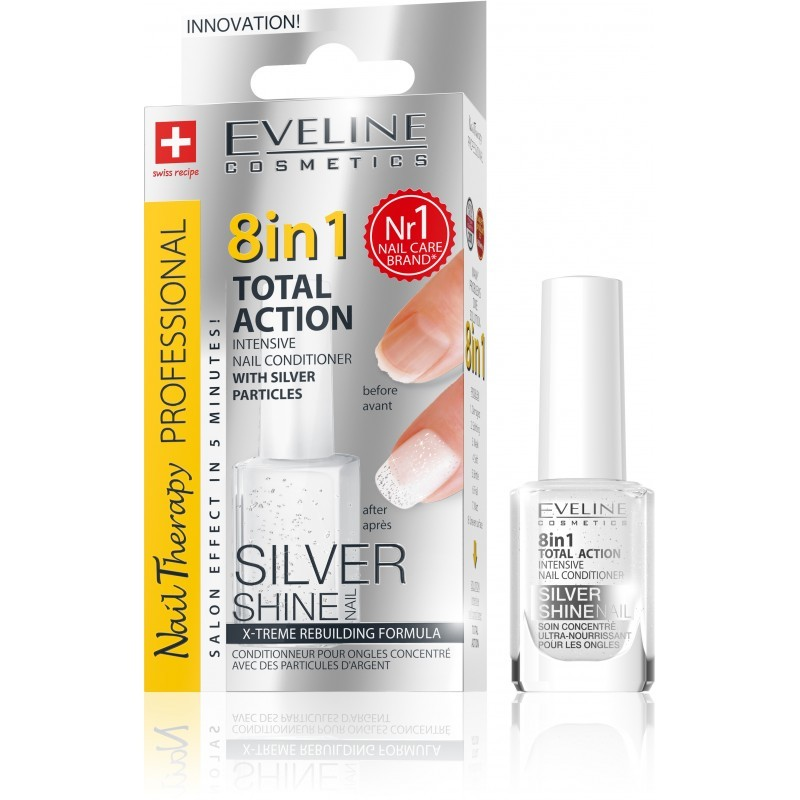 Eveline Cosmetics Nail Therapy Professional kondicionér na nehty se třpytkami 8 in 1 12 ml