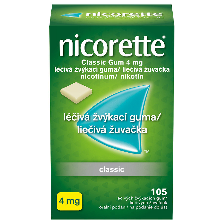 NICORETTE CLASSIC GUM 4 MG orální podání léčivé žvýkací gumy 105X4MG