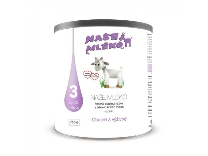 NAŠE MLÉKO 3 batol.výživa z kozího mléka 750g
