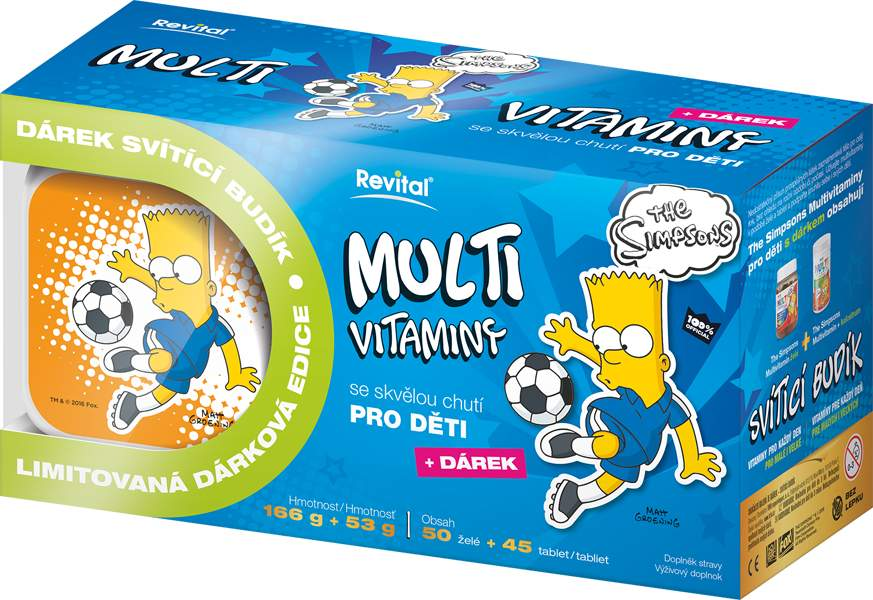 The Simpsons Bart Multivitaminy 50želé+45tbl+budík