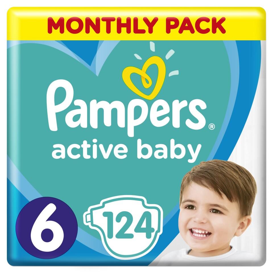 Pampers Active Baby Pleny 6 11-18kg 124 ks + dárek PAMPERS vlhčené ubrousky Sensitive 56ks zdarma