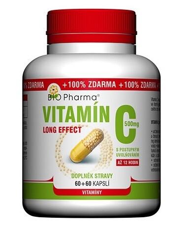 Vitamín C 500mg long effect cps.60+60 BIO-Pharma