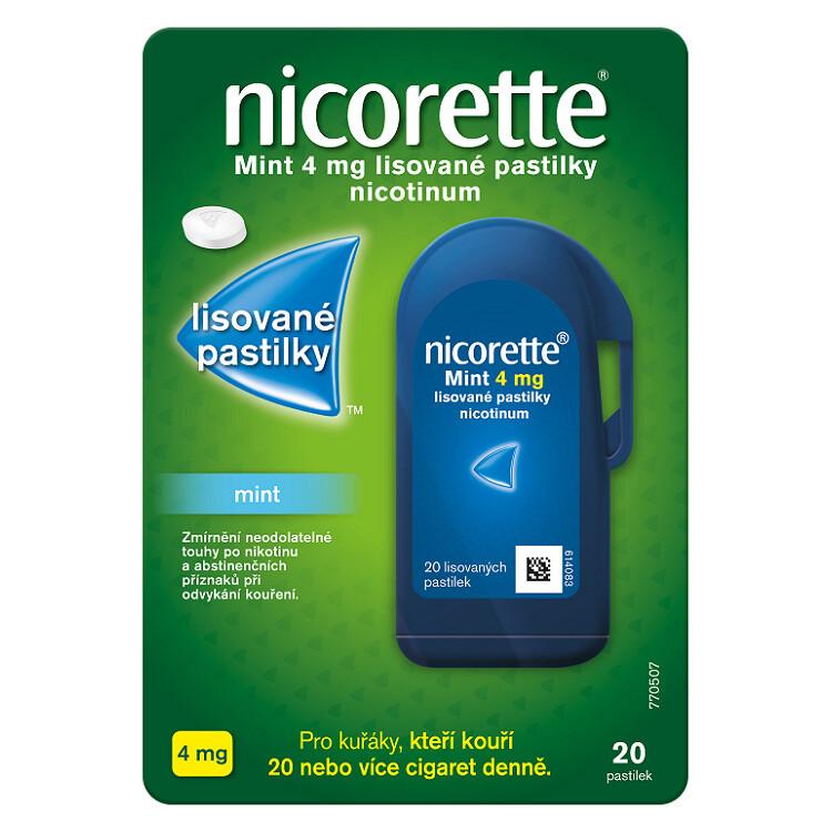 Nicorette® Mint 4 mg lisované pastilky, 20 pastilek