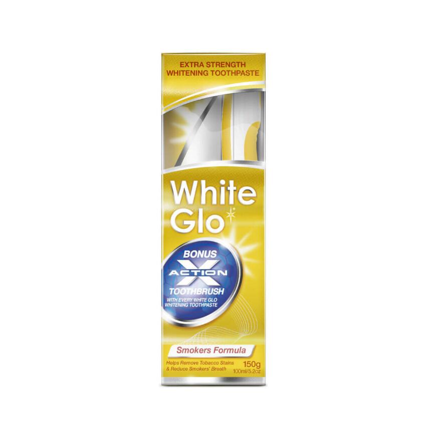 WHITE GLO Bělící pasta Smokers 150g+kart.na zuby