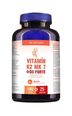 Vitamín K2 MK 7 + D3 Forte tbl.100 +25 ZDARMA + dárek Vitamin A+D3 forte tbl.50 zdarma