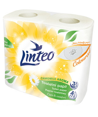 Melitrade Toaletní papír LINTEO heřmánek 3vrstvý žlutý 4role