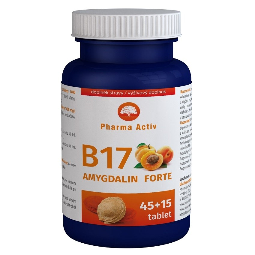 AMYGDALIN FORTE tbl.45+15 Zdarma Vit. B17 + dárek Vitamin A+D3 forte tbl.50 zdarma