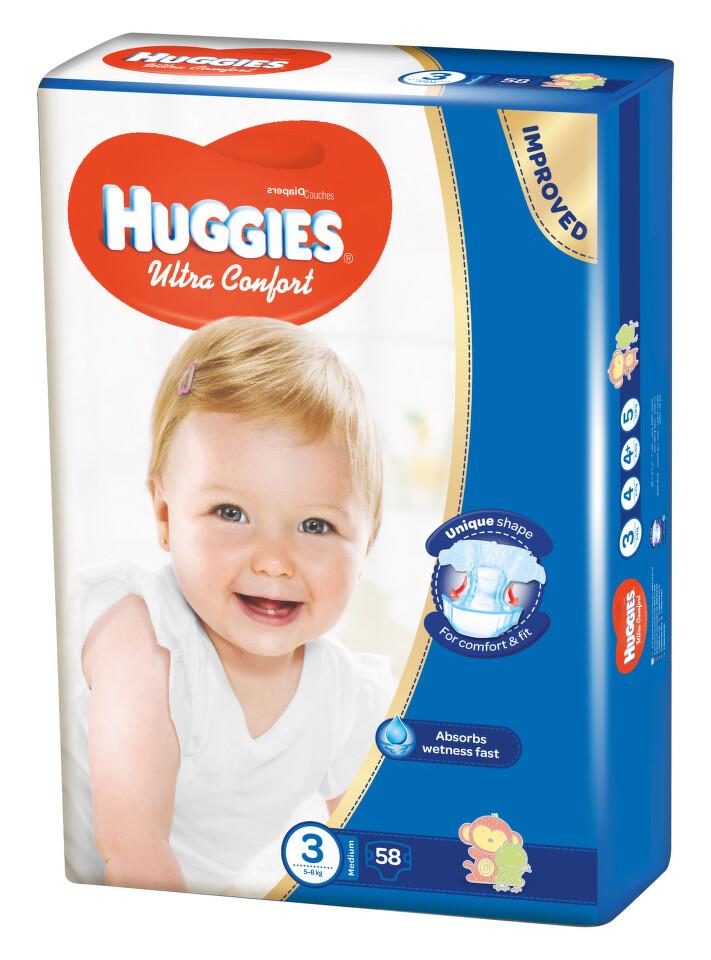 HUGGIES Ultra Comfort vel.3 58ks + dárek HUGGIES Natural Care Single 56ks zdarma