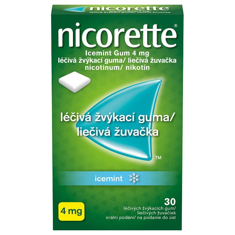 Nicorette® Icemint Gum 4 mg léčivá žvýkací guma, 30 žvýkaček