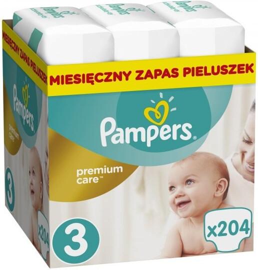 Pampers Plenky Premium Monthly Box S3 204 + dárek PAMPERS vlhčené ubrousky Sensitive 56ks zdarma
