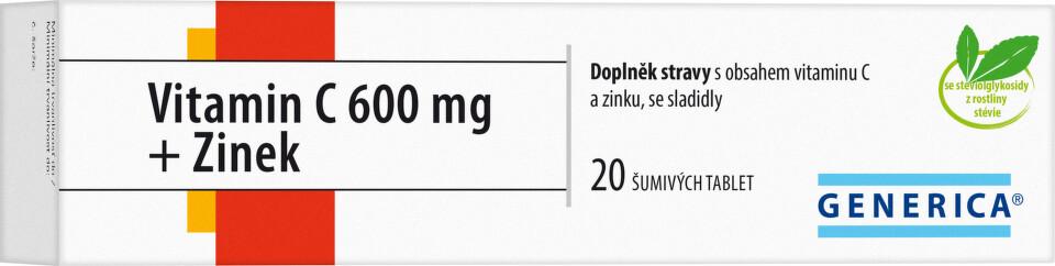 Vitamin C 600 mg + Zinek eff.tbl.20 Generica