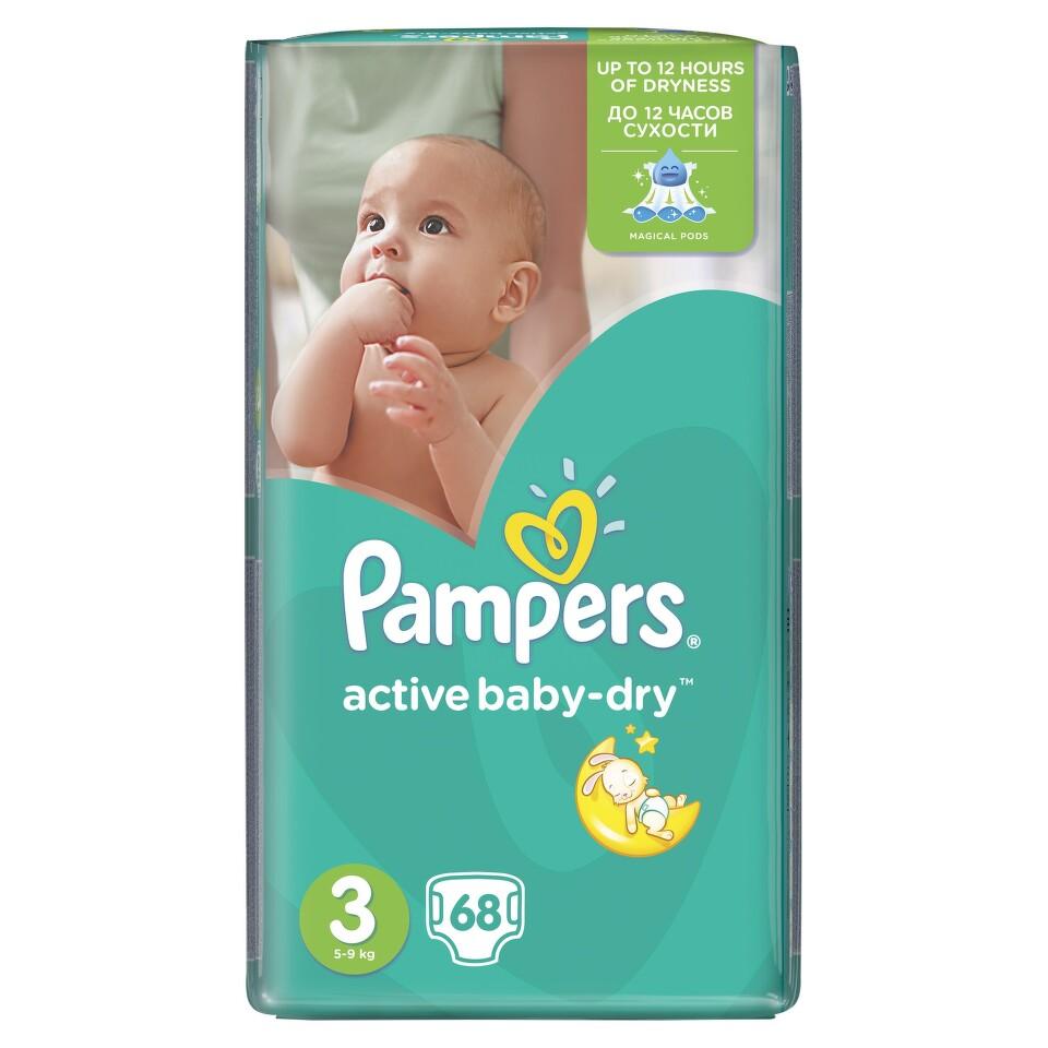 PAMPERS Active Baby VPP 3 Midi 68ks + dárek PAMPERS vlhčené ubrousky Sensitive 56ks zdarma
