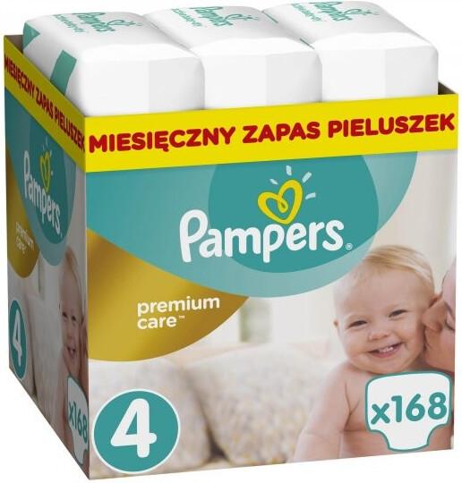 Pampers Plenky Premium Monthly Box S4 168 + dárek PAMPERS vlhčené ubrousky Sensitive 56ks zdarma