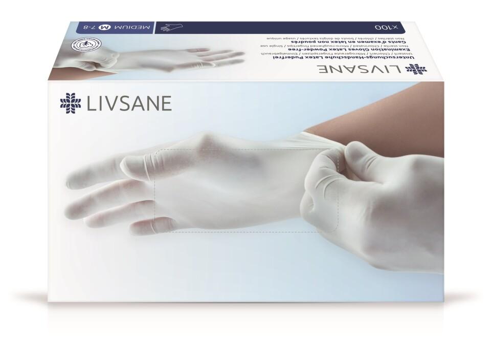 e65e3523ce7 LIVSANE Latexové rukavice nepudrované M 100 ks
