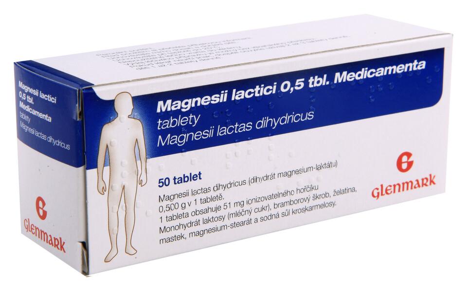 MAGNESII LACTICI 0,5 TBL. MEDICAMENTA 0,5G neobalené tablety 50