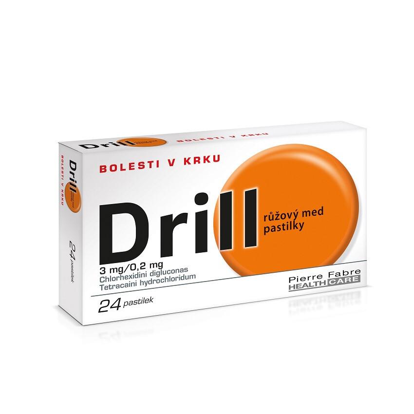 Drill růžový med pastilky na bolest v krku, 24 pastilek