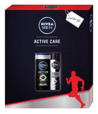 NIVEA set muži sprej B&W original+SG Active clean
