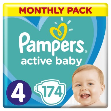 Active Baby Pampers Pleny 4 Maxi 8-14kg 174 ks
