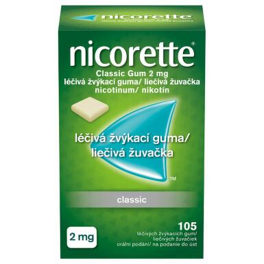 NICORETTE CLASSIC GUM 2 MG orální podání léčivé žvýkací gumy 105X2MG