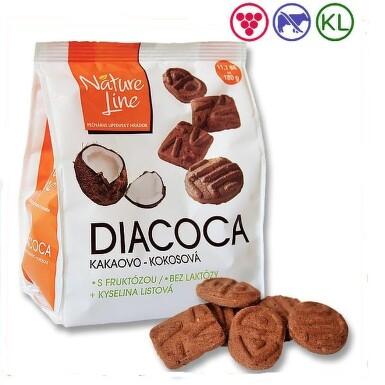 DIACOCA sušenky s fruktózou kakao-kokos.přích.180g