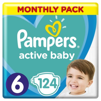 Active Baby Pampers Pleny 6 11-18kg 124 ks