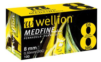JEHLY WELLION MEDFINE PLUS PRO VŠECHNA INZULÍNOVÁ PERA VEL. 30G X 8 MM, 100 KS
