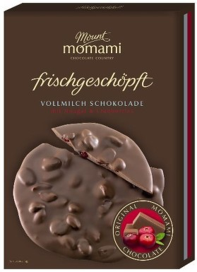 Momami mléčná čokoláda s nugátem a brusinkami 85g