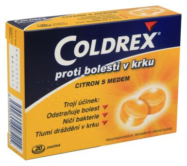 COLDREX PROTI BOLESTI V KRKU CITRON S MEDEM orální podání pastilka 20