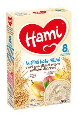 Hami kaše ml. rýžová s vanil+ovoce+křupin.8M 225g