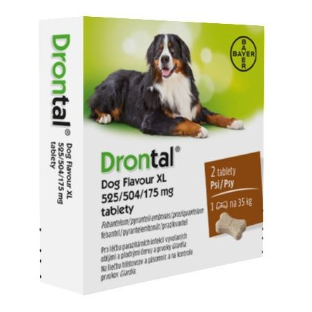 Drontal Dog Flavour XL 525 504 175mg psy tbl.2