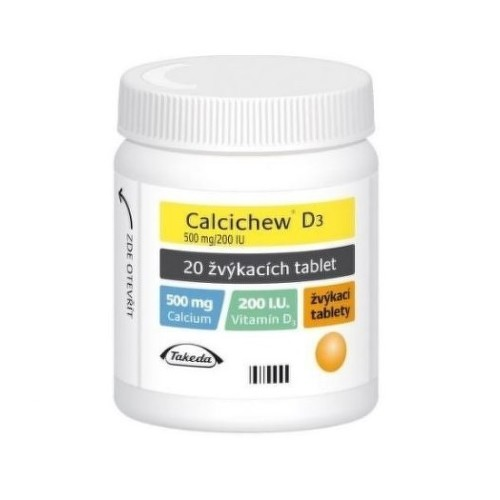 CALCICHEW D3 500MG 200IU žvýkací tableta 20