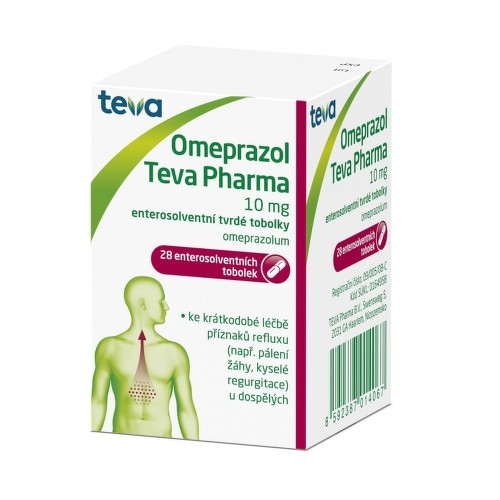 OMEPRAZOL TEVA PHARMA 10 MG perorální enterosolventní tvrdé tobolky 28X10MG