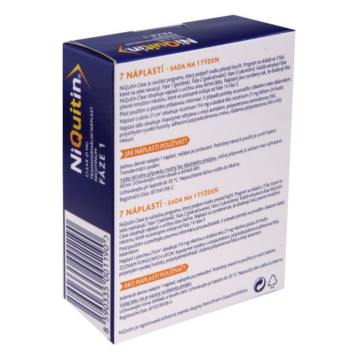 NIQUITIN CLEAR 21 MG kožní podání transdermální náplasti 7X21MG