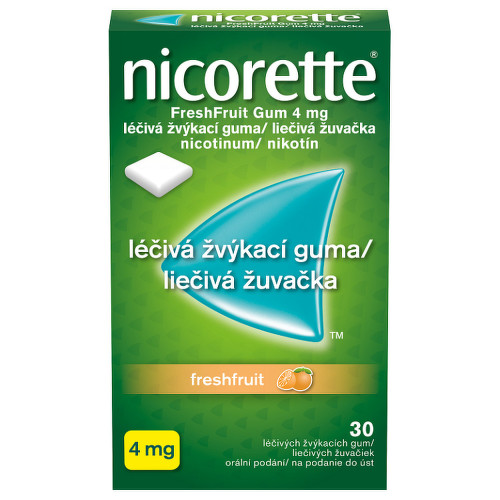 NICORETTE FRESHFRUIT GUM 4 MG orální podání léčivé žvýkací gumy 30X4MG