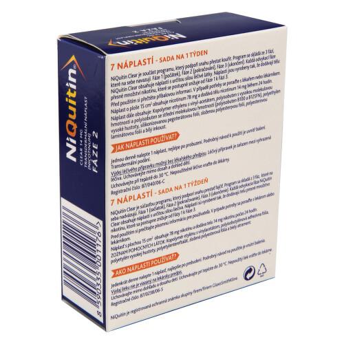 NIQUITIN CLEAR 14 MG kožní podání transdermální náplasti 7X14MG