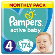Pampers Active Baby Pleny 4 Maxi 9-14kg Monthly Pack 174 ks