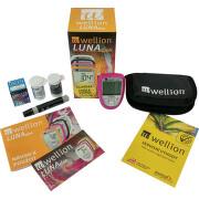 Glukometr a cholesterolmetr WELLION LUNA DUO SET růžový + dárek 5 ks proužků na měření cholesterolu