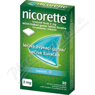 Nicorette® Icemint Gum 2 mg léčivá žvýkací guma, 30 zvýkaček