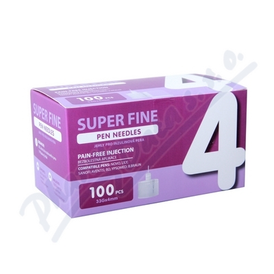 JEHLY PRO INZULÍNOVÁ PERA SUPER FINE, 4MM, 33G,100KS