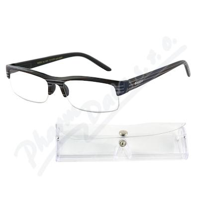 Brýle čtecí +3.50 černé s pruhy a pouzdrem